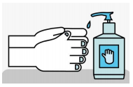 Picture of hand sanitiser in use